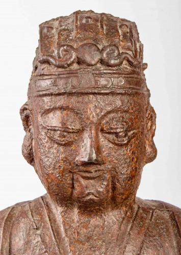 Asian Works of Art  - A large figure of the Jade Emperor in Cast Iron, Kangxi mark and period