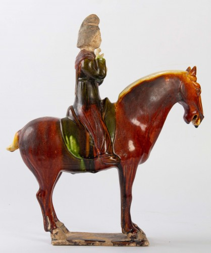 BC to 10th century - A Three-color glaze lady on a horse, Tang dynasty