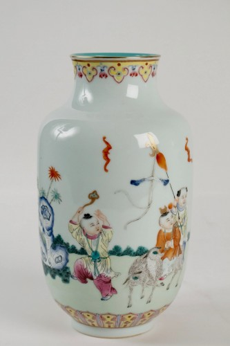 A Famille rose vase decorated with rams and children, Republic era - Asian Works of Art Style