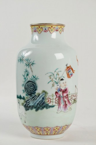 Asian Works of Art  - A Famille rose vase decorated with rams and children, Republic era
