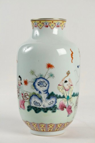 A Famille rose vase decorated with rams and children, Republic era -