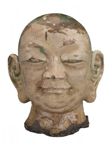 An important Chinese Luhoan head in three-color enamelled stoneware
