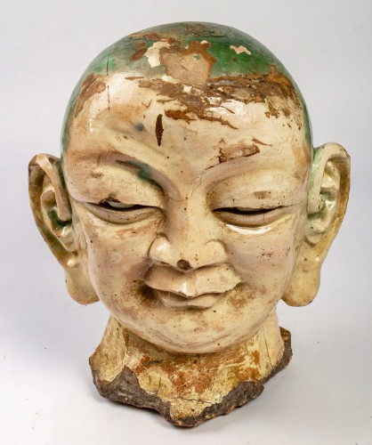 Asian Works of Art  - An important Chinese Luhoan head in three-color enamelled stoneware