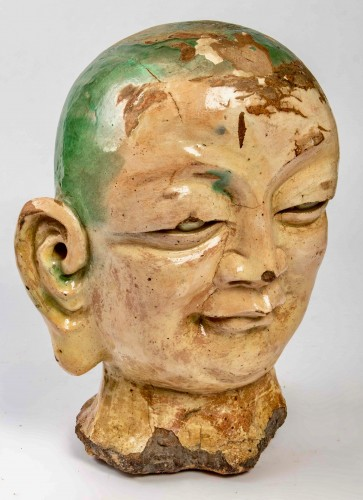 An important Chinese Luhoan head in three-color enamelled stoneware -