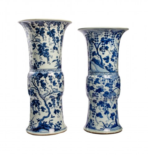 A Near pair of blue white large vases with squirrels, Kangxi period