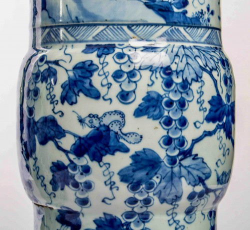 A Near pair of blue white large vases with squirrels, Kangxi period -