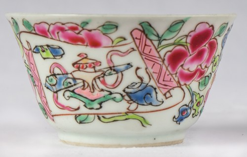 6 Famille rose half-eggshell cups and saucers, Yongzheng period -