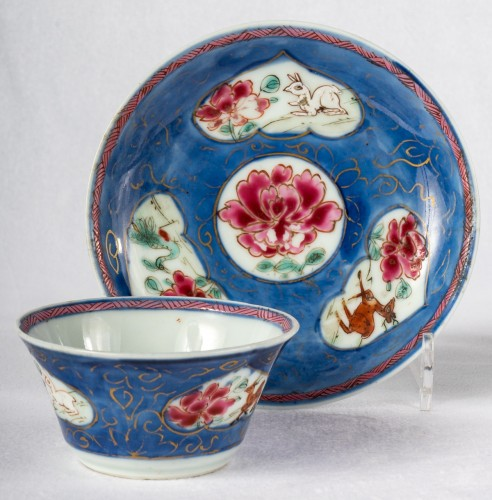 5 Famille rose half-shell cups and theirs saucers, early Yongzheng period - Asian Works of Art Style