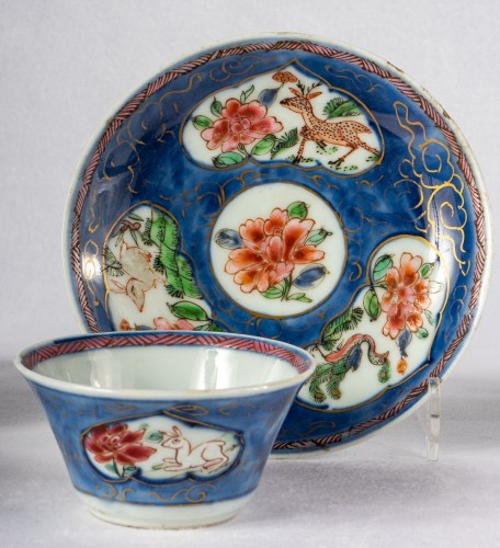 Asian Works of Art  - 5 Famille rose half-shell cups and theirs saucers, early Yongzheng period