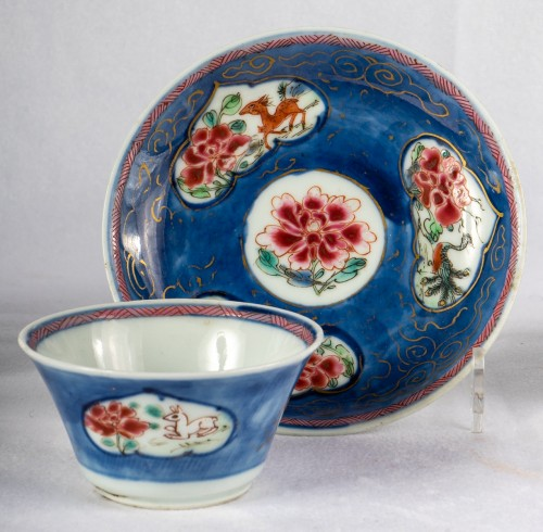 5 Famille rose half-shell cups and theirs saucers, early Yongzheng period -