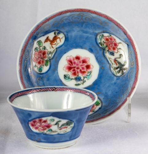 18th century - 5 Famille rose half-shell cups and theirs saucers, early Yongzheng period