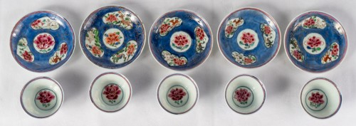 - 5 Famille rose half-shell cups and theirs saucers, early Yongzheng period