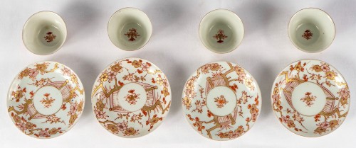 Asian Works of Art  - A Series of 4 iron red and gold cups and saucers, Kangxi period