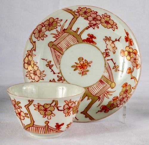 A Series of 4 iron red and gold cups and saucers, Kangxi period -