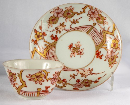 - A Series of 4 iron red and gold cups and saucers, Kangxi period