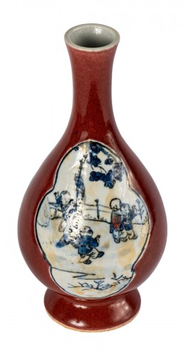 An ox blood and blue and white vase, Xuantong mark and of the period