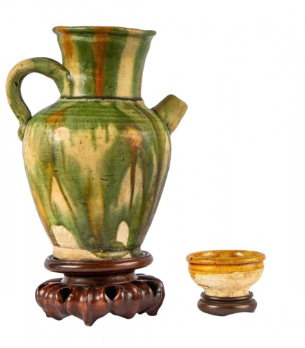 A 3 color glazed Terracotta Jug and Cup, Tang Dynasty