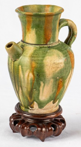 A 3 color glazed Terracotta Jug and Cup, Tang Dynasty -