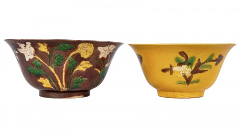 Two yellow and aubergine Brinjal bowls, Kangxi period