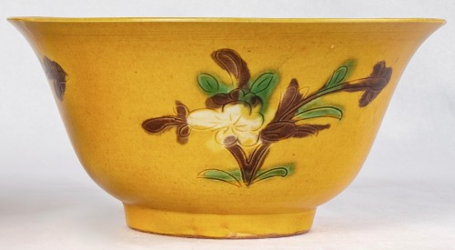 Asian Works of Art  - Two yellow and aubergine Brinjal bowls, Kangxi period