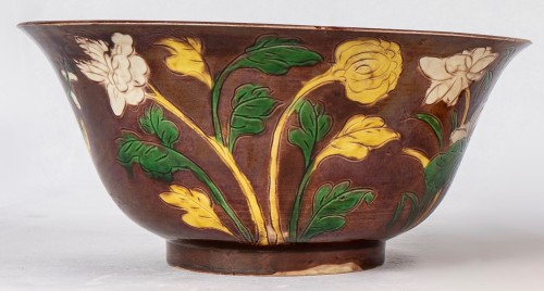 - Two yellow and aubergine Brinjal bowls, Kangxi period