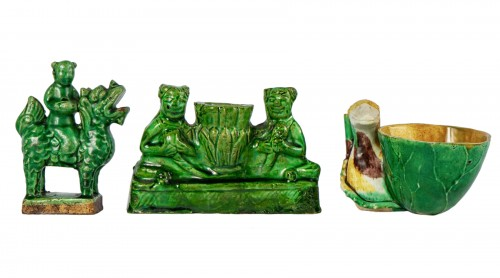 3 green and yellow biscuit incense holders, Kangxi period