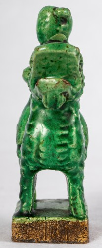 3 green and yellow biscuit incense holders, Kangxi period -