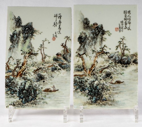 A collection of Chinese porcelain plaques, Qing Dynasty and Republic period - Asian Works of Art Style
