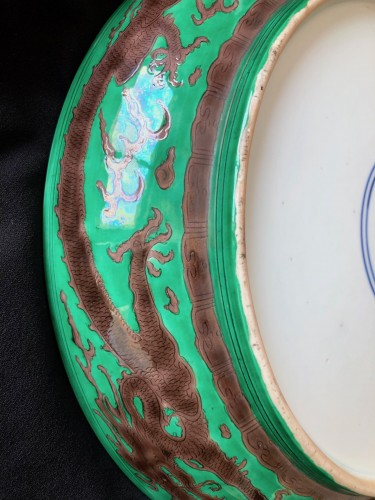 A large green ground and aubergine dragon dish, Kangxi mark and period -