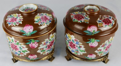 Asian Works of Art  - A pair of large Batavian Famille rose covered pots, 18th century