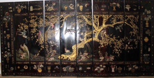 A Chinese ten leaves Coromandel lacquer screen, Kangxi period (1662-1722) - Asian Works of Art Style
