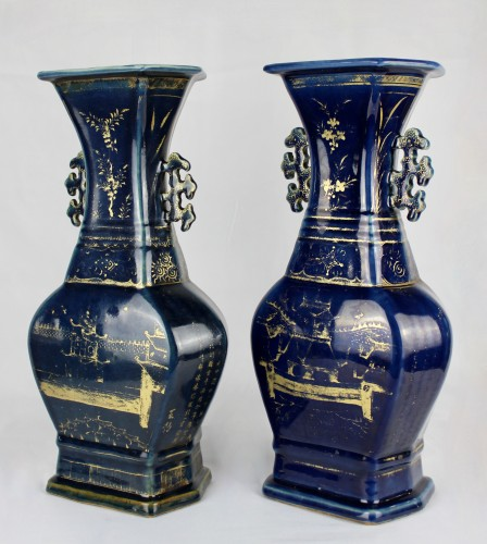 - A pair of deep blue vases with gilt decoration, Jiaqing period (1796-1820)