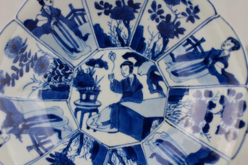 - A pair of blue and white Long Elisas saucer dishes, Kangxi period