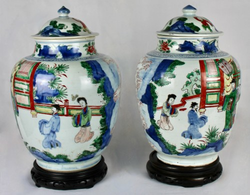 Asian Works of Art  - A pair of covered wucai jars, Shunzhi period