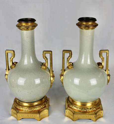 A pair of Guan style crackled lamp bases with ormolu mounts  - Decorative Objects Style