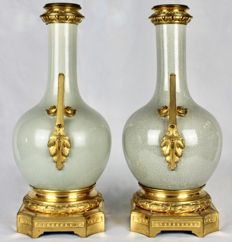 A pair of Guan style crackled lamp bases with ormolu mounts  -