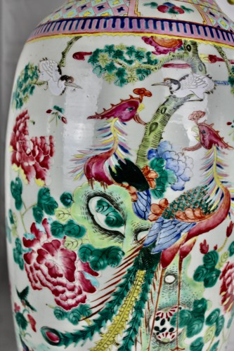 - A Pair of large Chinese Famille rose vases with couples of birds, 19th cent