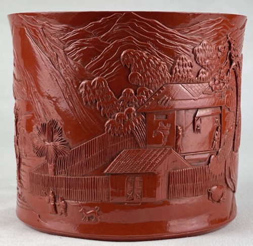 A red porcelain brushpot Bitong signed Chen Guozhi - Asian Works of Art Style