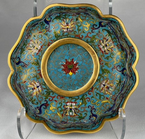 - A lobed cloisonné bowl with lotus and dragons, 19th century