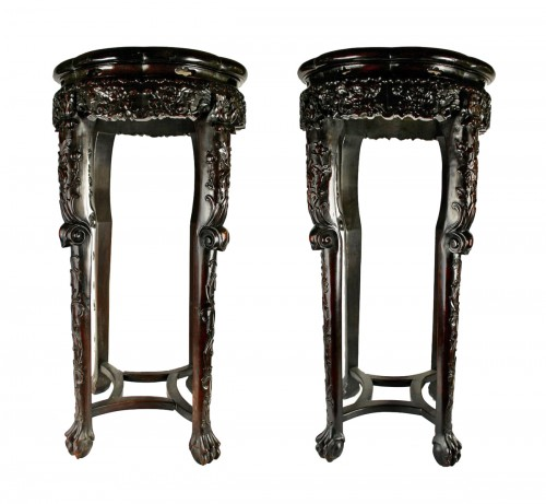 A Pair of Chinese hardwood stands with marble insets, 19th century