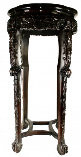 A Pair of Chinese hardwood stands with marble insets, 19th century - Asian Works of Art Style