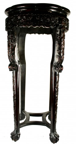 Asian Works of Art  - A Pair of Chinese hardwood stands with marble insets, 19th century