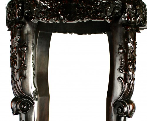 A Pair of Chinese hardwood stands with marble insets, 19th century -