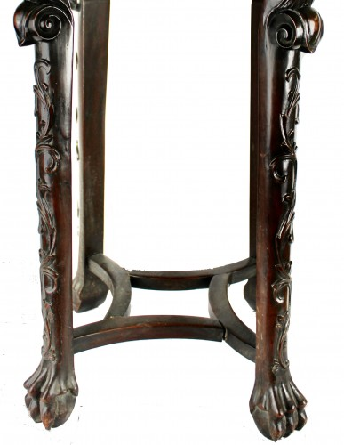 - A Pair of Chinese hardwood stands with marble insets, 19th century