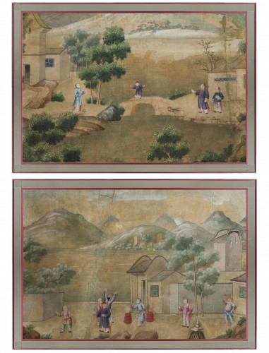 A pair of chinese for export watercolors, 18th century