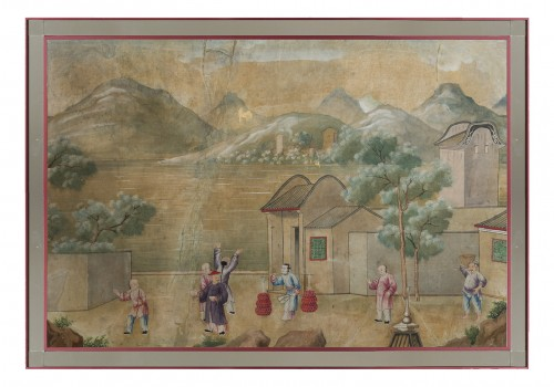 A pair of chinese for export watercolors, 18th century - Asian Art & Antiques Style
