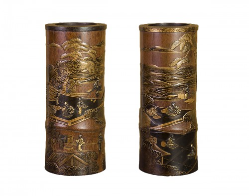 A pair of 19th century japanese trumpet vases