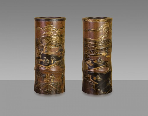 A pair of 19th century japanese trumpet vases  - Asian Art & Antiques Style