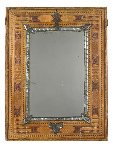 Pier glass with straw marqueterie, France circa1830