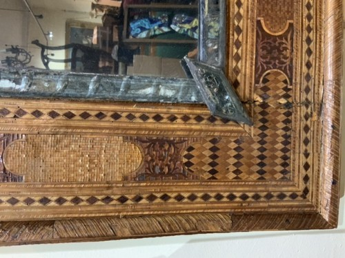 19th century - Pier glass with straw marqueterie, France circa1830